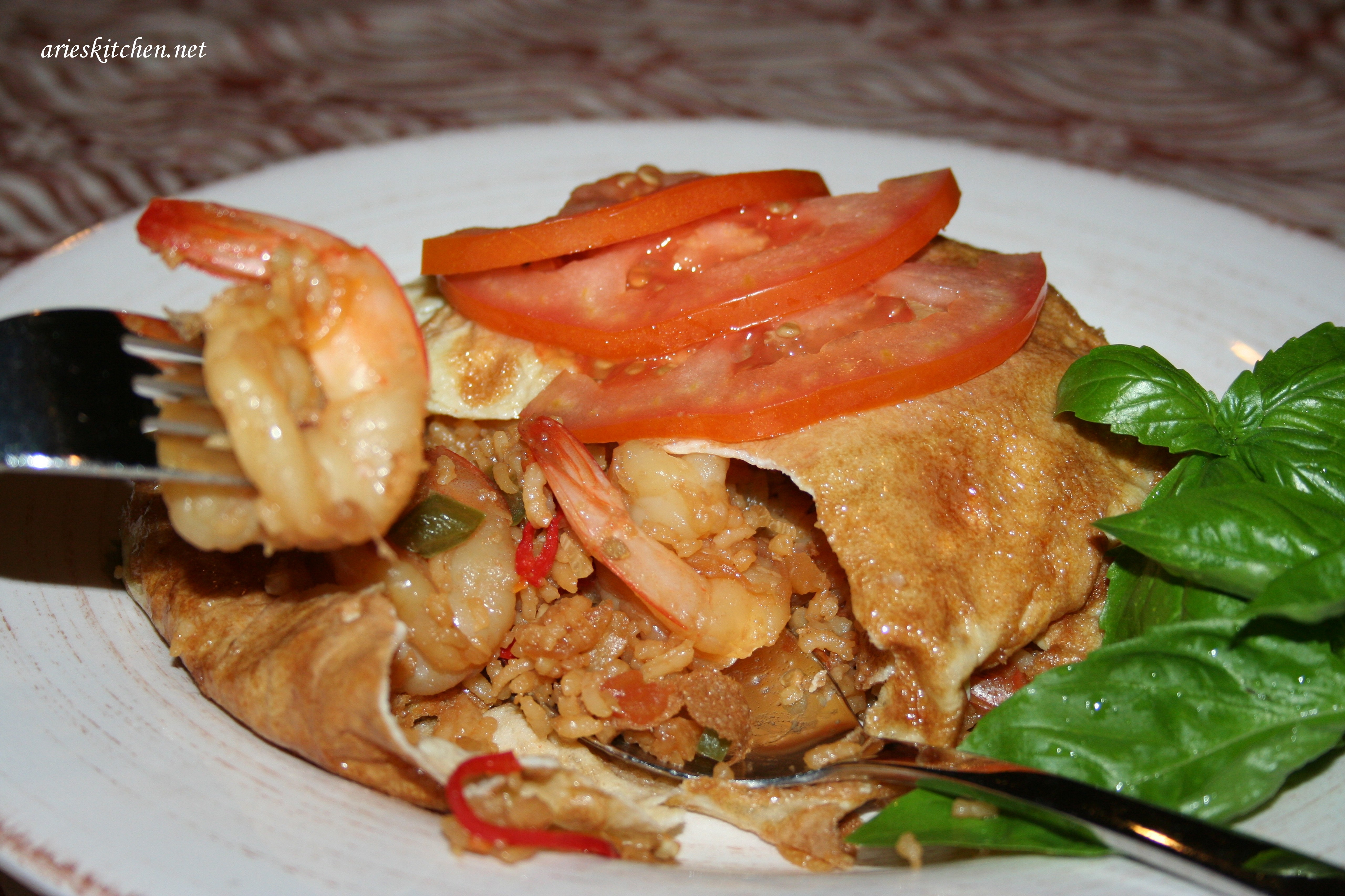 Prawn Fried Rice Wrap in Indonesian Omelette Recipe - Arie ...