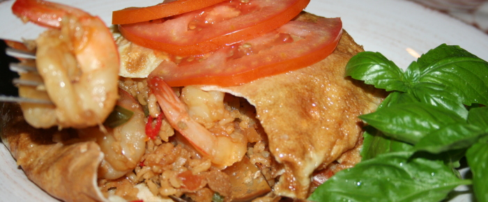 Prawn Fried Rice Wrap in Indonesian Omelette Recipe