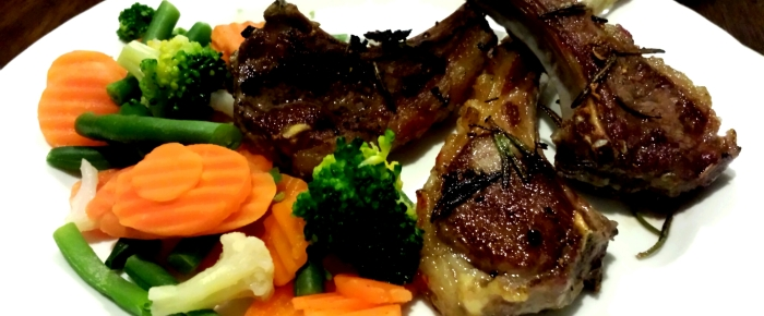 Lamb Chops Cooked with Garlic and Rosemary