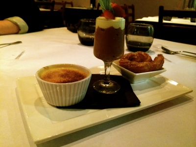 Chocolate Mousse, Creme Brelee, Churro, Blue Ox Steakhouse